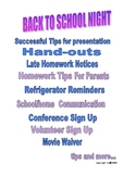 BACK TO SCHOOL NIGHT HANDOUTS AND TIPS