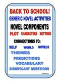 BACK TO SCHOOL NOVEL ACTIVITIES bundled packet