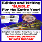 """BUNDLED"" CC ""Monthly"" Themed Writing ""Editing"" Task Cards"
