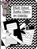 B&W Back to School Supply Clipart 300 .dpi