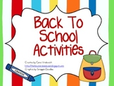 Back To School Activity Unit