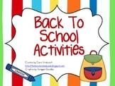 Back To School Activity Unit