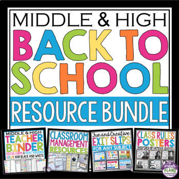 BACK TO SCHOOL MIDDLE HIGH RESOURCE BUNDLE: Organizer, Posters & Printables!