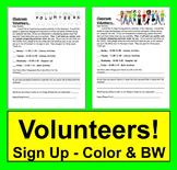 Back to School Volunteer Letter - Parents