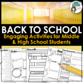 Back to School Activities - Middle / High School Students