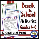 Back to School Activities Grades 4 - 6