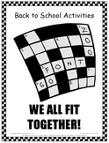 Back to School Activities - We All Fit Together!