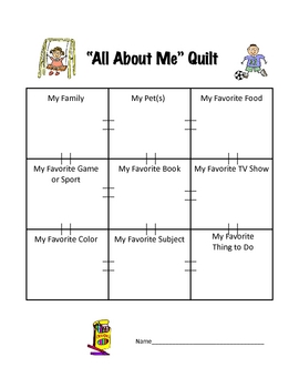 Back to School  All About Me Quilt Activity Printable