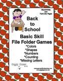 Back to School Basic Skill File Folder Games