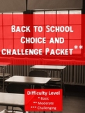 Back to School Choice and Challenge Bundle Packet