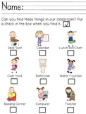 Back to School Classroom Scavenger Hunt (PreK - K)