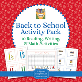 Back to School Literacy and Math Pack - 10 Centers for Bac