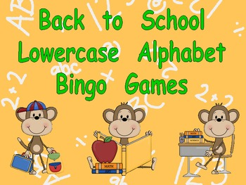 Back to School Lowercase Alphabet Bingo Games-Kindergarten
