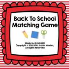Back to School Matching Game