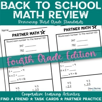 Back to School: Math Review of Grade 3 Concepts for 4th Graders - CCSS Aligned