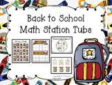 Back to School Math Station Tubs for Kindergarten