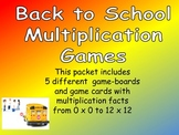 Back to School Multiplication Games- All Facts from 0 x 0