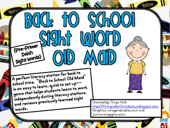 Back to School Old Maid--Pre-Primer Sight Word Game