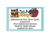 Back to School Owl Theme Open House, Parent Night Power Po