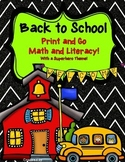Back to School Print and Go Math and Literacy with Superhe