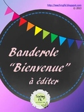 """Banderole """"Bienvenue"""" French Editable Welcome Flags"""