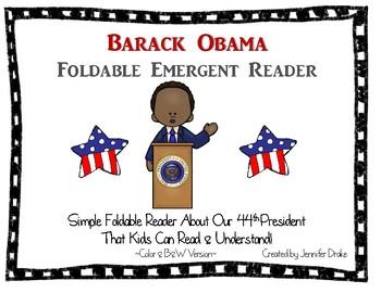 Barack Obama Foldable Emergent Reader ~Color & B&W Versions PLUS Printable