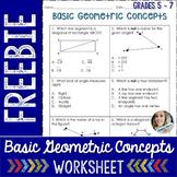 Basic Geometric Concepts Worksheet