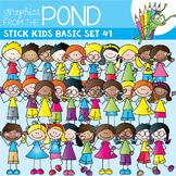 "Stick Kids ""Basics"" Super Set #1  - Clipart for Teachers"