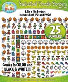 Basketball Doodle Frame Borders Set  — Includes 25 Graphics!