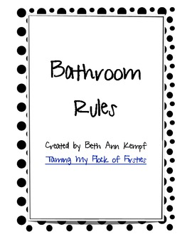 Bathroom Rules Black and White Polkadot