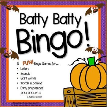 Batty Batty Bingo Letter, Sound, & Word Game for Halloween