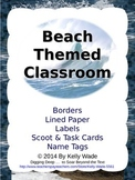 Beach Themed Classroom: Borders, Paper, Labels, Scoot & Ta