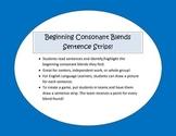 Beginning Consonant Blends Sentence Strips
