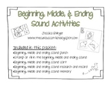 Beginning, Middle, and Ending Sound Activities