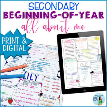 Beginning of the Year All About Me Activity for Secondary Students