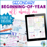 Beginning of the Year All About Me Activity for Secondary