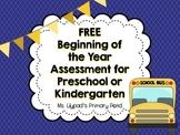 Preschool or Kindergarten Pre-Assessment