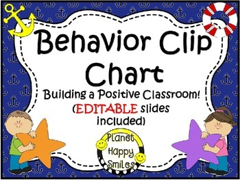 Behavior Management Clip Chart (EDITABLE) ~ Nautical