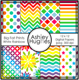 Big Fat Prints: White Rainbow {12x12 Digital Papers for Co