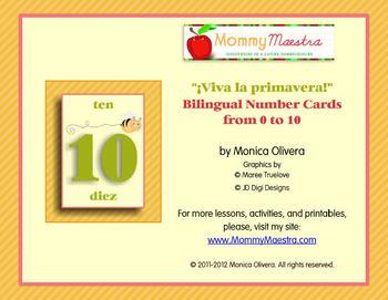 Bilingual Spring Number Cards
