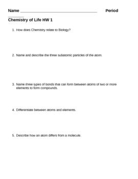 Biochemistry - Chemistry of Life HW 1