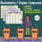 Biochemistry Organic Compounds Jeopardy Review Games - Set of 2