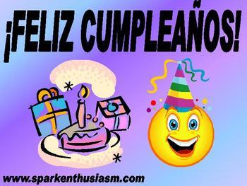 Birthday Cumpleanos Power Point in Spanish (35 slides)