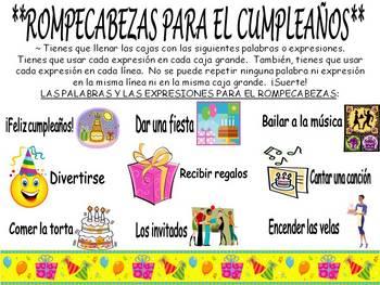 Birthday Sodoku Puzzle in Spanish (El cumpleanos)