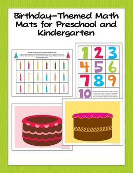 Birthday-Themed Math Mats for Preschool and Kindergarten Image