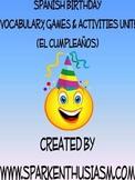 Birthday Vocabulary Activities & Games Unit in Spanish (El