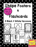 Black & White 2D and 3D Shape Posters & Flash Cards {Print