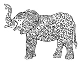 Black & White Detailed Elephant Coloring Sheet