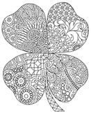 Black & White Detailed Four Leaf Clover Coloring Sheet: St