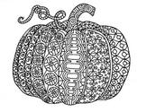Black & White Detailed Pumpkin Coloring Sheet: Halloween